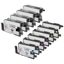 Compatible Brother Bulk Set of 10 Extra High Yield LC79 Ink Cartridges 4 Black (LC79BK) and 2 each of: Cyan (LC79C), Magenta (LC79M) and Yellow (LC79Y)