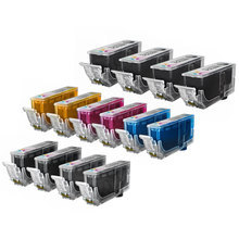 Compatible Canon Bulk Set of 14 PGI220 and CLI221 Ink Cartridges 4 pigment Black PGI220 and 2 each of CLI221: Dye Black,  Cyan, Magenta, Yellow and Gray