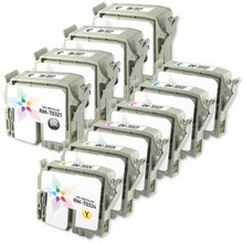 Remanufactured Epson Bulk Set of 10 Ink Cartridges 4 Black T032120 (T0321) and 2 each of: Cyan T032220 (T0322), Magenta T032320 (T0323) and Yellow T032420 (T0324)) for the Stylus C70, C80