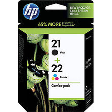 Original HP 21 Black and 22 TriColor Combo Ink Pack in Retail Packaging, (C9509FN)