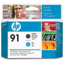 Original HP 91 Matte Black and Cyan Printhead in Retail Packaging (C9460A)