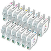 Remanufactured Epson Bulk Set of 14 Ink Cartridges 4 Black T033120 and 2 each of: Cyan T033220, Magenta T033320, Yellow T033420, Light Cyan T033520 and Light Magenta T033620