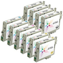 Remanufactured Epson Bulk Set of 10 Ink Cartridges 4 Black T044120 (T0441) and 2 each of: Cyan T044220 (T0442), Magenta T044320 (T0443) and Yellow T044420 (T0444)) for the Stylus C64, C66, CX4600
