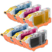 Canon Compatible BCI6 (with Red/Green) Set of 8 Ink Cartridges: 1 Black + 1 C/M/Y/G/R/PC/PM