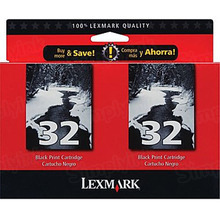 Lexmark #32 Black Inkjet Cartridge, OEM 18C0533 Two Pack