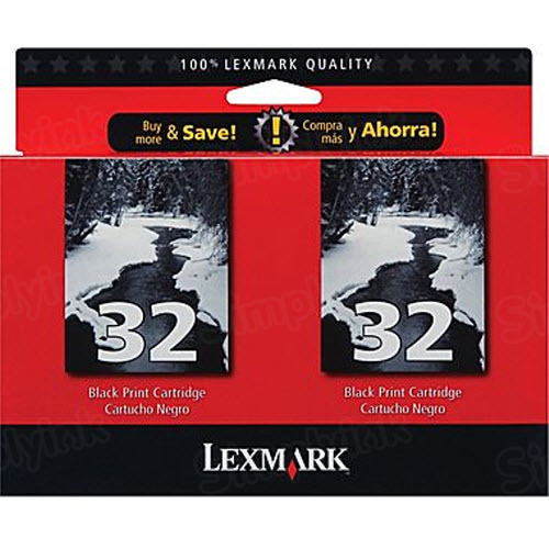 Lexmark 32 Black OEM Ink Cartridge (18C0533) Two Pack