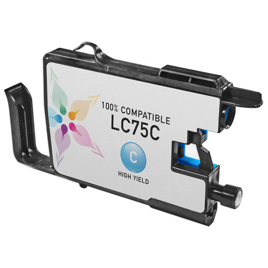 Brother Compatible LC75C High Yield Cyan Ink