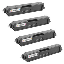 Compatible Brother Bulk Set of High Yield Toner Cartridges - 1 Each of: Black, Cyan, Magenta, and Yellow