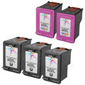 Remanufactured Bulk Set of 5 Ink Cartridges to Replace HP 60XL (3 BK, 2 CLR)