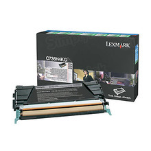Lexmark OEM High Yield Black Laser Toner Cartridge, C736H4KG (C736dn / X738de) (12,000 Page Yield)