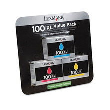 OEM Lexmark 14N1188 (100XL) High Yield Set of 1 Cyan, 1 Magenta and 1 Yellow Ink Cartridge