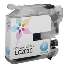 Compatible LC203C High Yield Cyan Ink Cartridge for Brother