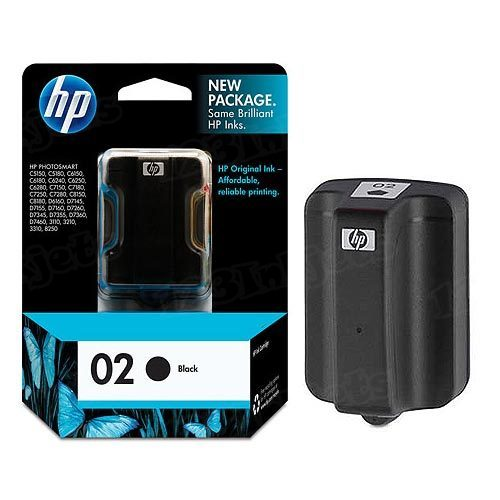HP 02 Black Original Ink Cartridge C8721WN