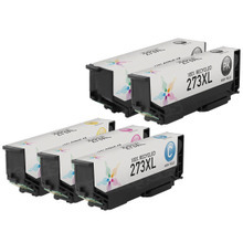 Remanufactured 5 Pack for Epson 273XL: 1 Black, Cyan, Magenta, Yellow, Photo Black