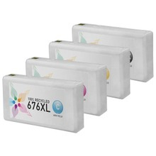 Remanufactured 4 Pack for Epson 676XL: 1 Black, Cyan, Magenta, Yellow
