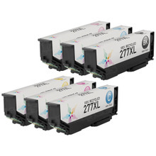 Remanufactured 6 Pack for Epson 277XL: 1 Black, Cyan, Magenta, Yellow, Light Cyan, Light Magenta