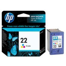 Original HP 22 Tri-Color Ink Cartridge in Retail Packaging (C9352AN)