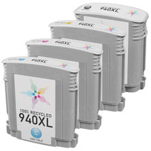 Remanufactured 4 Pack for HP 940XL: 1 Black, Cyan, Magenta, Yellow