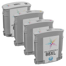 Remanufactured 4 Pack for HP 88XL: 1 Black, Cyan, Magenta, Yellow