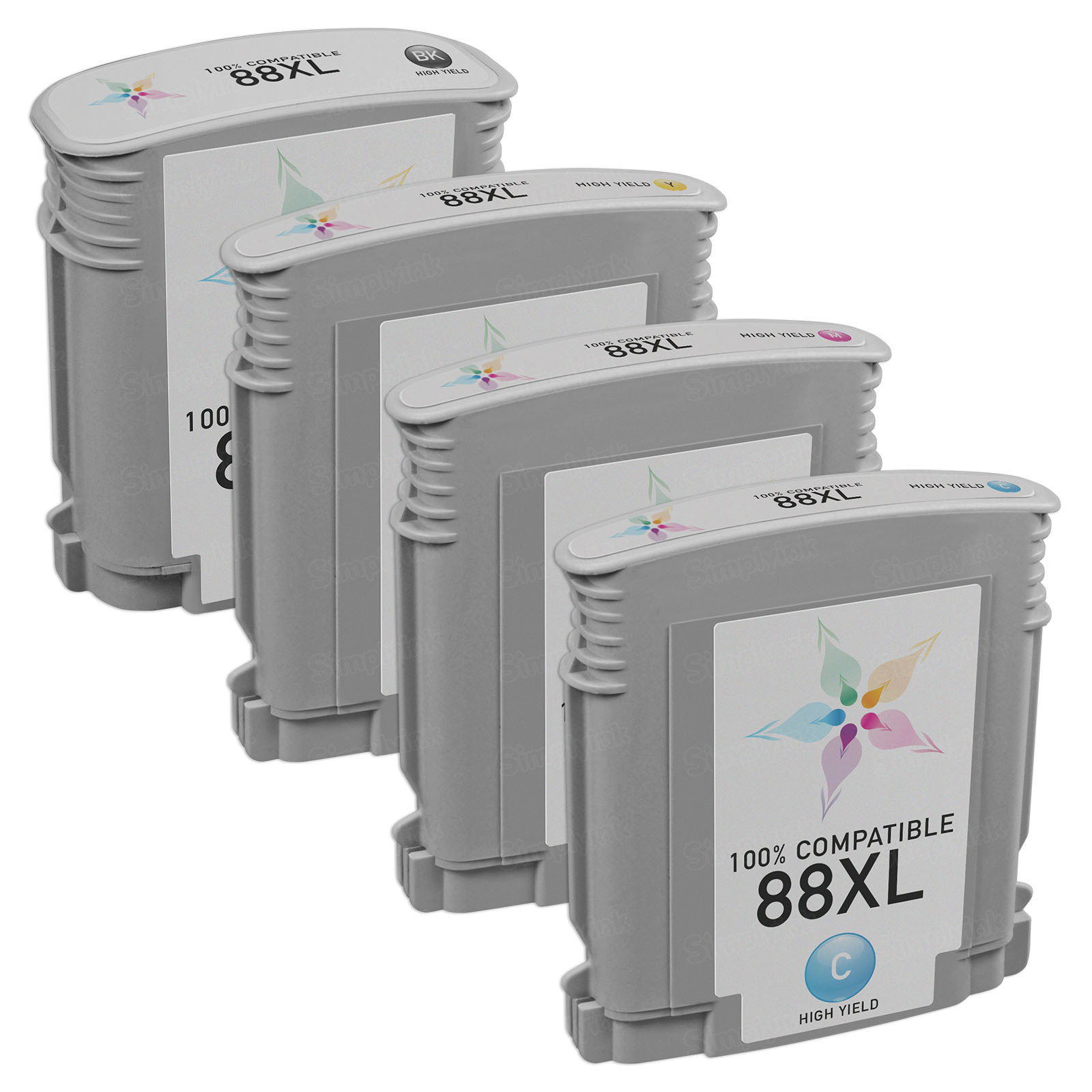 Remanufactured 88XL 4 Pack for HP