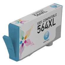 Remanufactured Replacement Ink Cartridge for Hewlett Packard CB323WN (HP 564XL) High-Yield Cyan - Shows Accurate Ink Levels