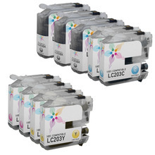 Compatible 9 Pack for Brother LC203: 3 Black & 2 each of Cyan, Magenta, Yellow