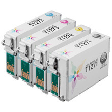 Remanufactured 4 Pack for Epson 127: 1 Black, Cyan, Magenta, Yellow