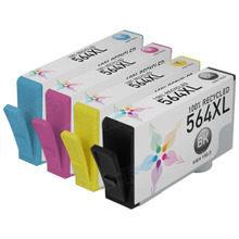Remanufactured 4 Pack for HP 564XL: 1 Black, Cyan, Magenta, Yellow