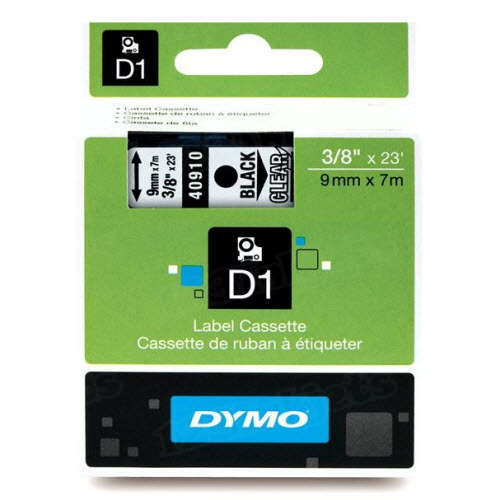 Dymo 40910 3/8 Black on Clear OEM Tape