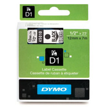 Dymo 45010 Black on Clear OEM 1/2 Label Tape