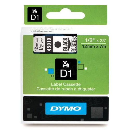 Dymo 45010 1/2 Black on Clear OEM Tape