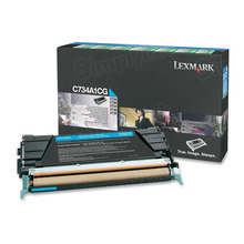 Lexmark OEM Cyan Return Program Laser Toner Cartridge, C734A1CG (C734/C736/X734/X736/X738 Series) (6K Page Yield)