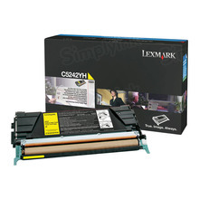 Lexmark OEM High Yield Yellow Laser Toner Cartridge, C5242YH (C524/C532/C537) (5,000 Page Yield)