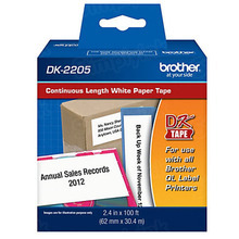 Genuine DK-2205 White (2.4 in x 100 ft) Paper Labels for Brother