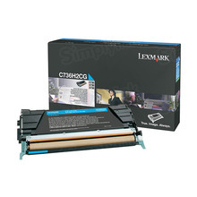 Lexmark OEM High Yield Cyan Laser Toner Cartridge, C736H2CG (C734/X736/X738) (10,000 Page Yield)