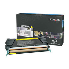 Lexmark OEM High Yield Yellow Laser Toner Cartridge, C736H2YG (C734/X736/X738) (10,000 Page Yield)