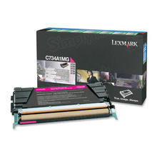 Lexmark OEM Magenta Return Program Laser Toner Cartridge, C734A1MG (C734/C736/X734/X736/X738 Series) (6K Page Yield)