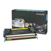 Lexmark OEM Yellow Return Program Laser Toner Cartridge, C734A1YG (C734/C736/X734/X736/X738 Series) (6K Page Yield)