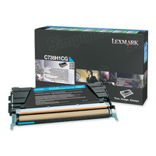 Lexmark OEM High Yield Cyan Return Program Laser Toner Cartridge, C736H1CG (X736/X738/C736 Series) (10K Page Yield)