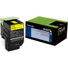 Lexmark OEM High Yield Yellow Return Program Laser Toner Cartridge, 70C1HY0 (CS310/CS410/CS510 Series) (3K Page Yield)