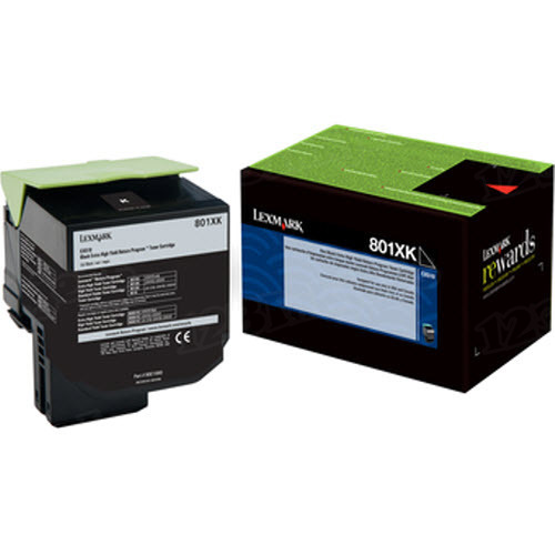 Lexmark Original Extra HY Black Return Program Toner, 80C1XK0 (801XK)
