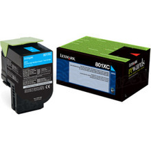 Lexmark OEM High Yield Cyan Return Program Laser Toner Cartridge, 80C1XC0 (CX510 Series) (4K Page Yield)