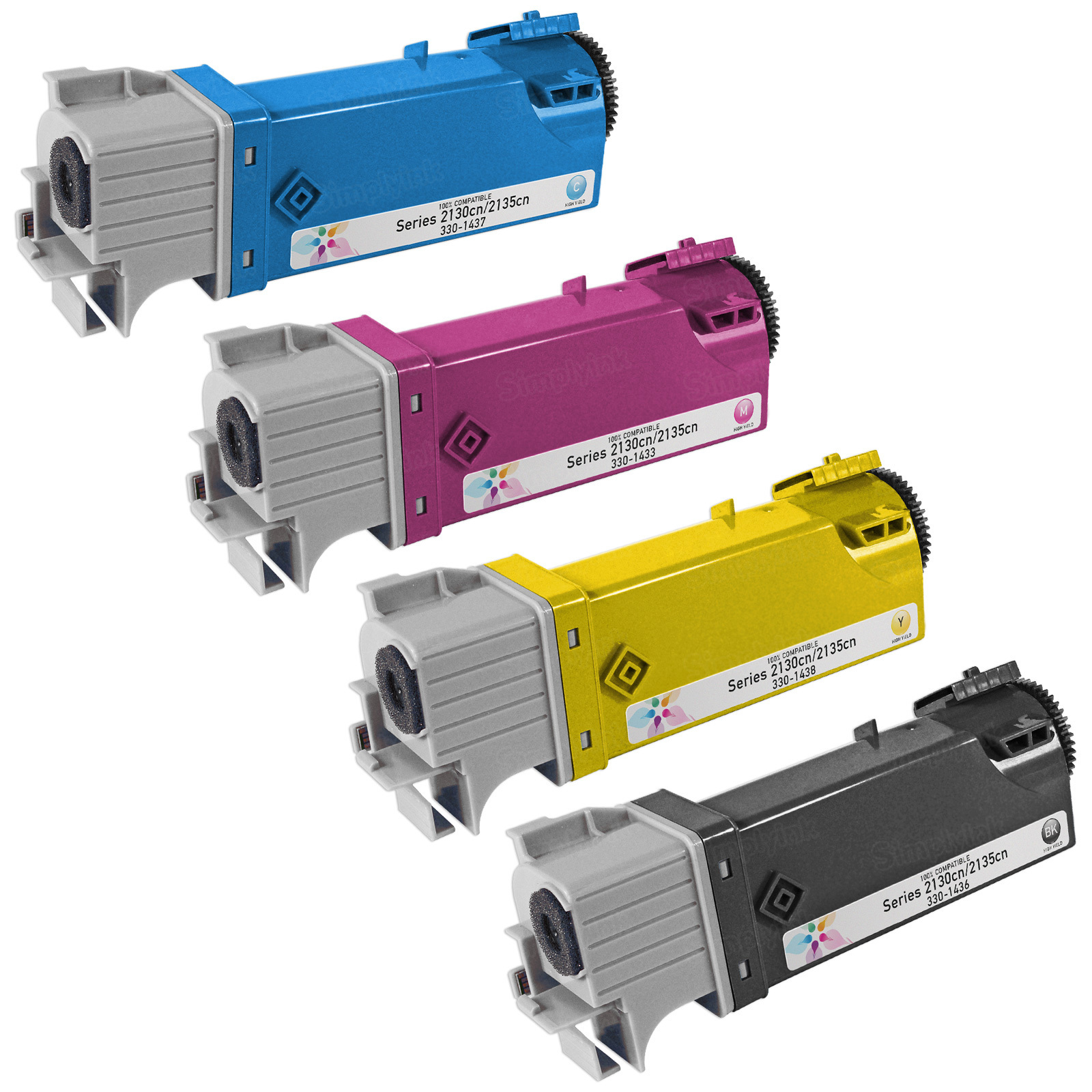 Compatible Set of 4 HY Toners for use in the Dell Laser 2130cn and 2135cn, (Bk, C, M, Y)