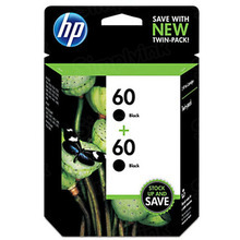 Genuine HP 60 Black Ink Twin Pack in Retail Packaging, (CZ071FN)