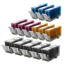 Compatible Canon Bulk Set of 14 Ink Cartridges - 5 Black and 3 each of: Cyan, Magenta and Yellow