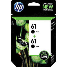 Genuine HP 61 Black Ink Twin Pack in Retail Packaging, (CZ073FN)
