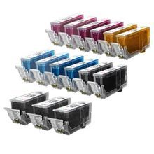 Compatible Canon Bulk Set of 15 Ink Cartridges - 3 Pigment Black and 2 each of: Black, Cyan, Magenta, Photo Cyan, Photo Magenta and Yellow