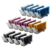Compatible Canon Bulk Set of 14 Ink Cartridges - 4 Black and 2 each of: Cyan, Magenta, Photo Cyan, Photo Magenta and Yellow