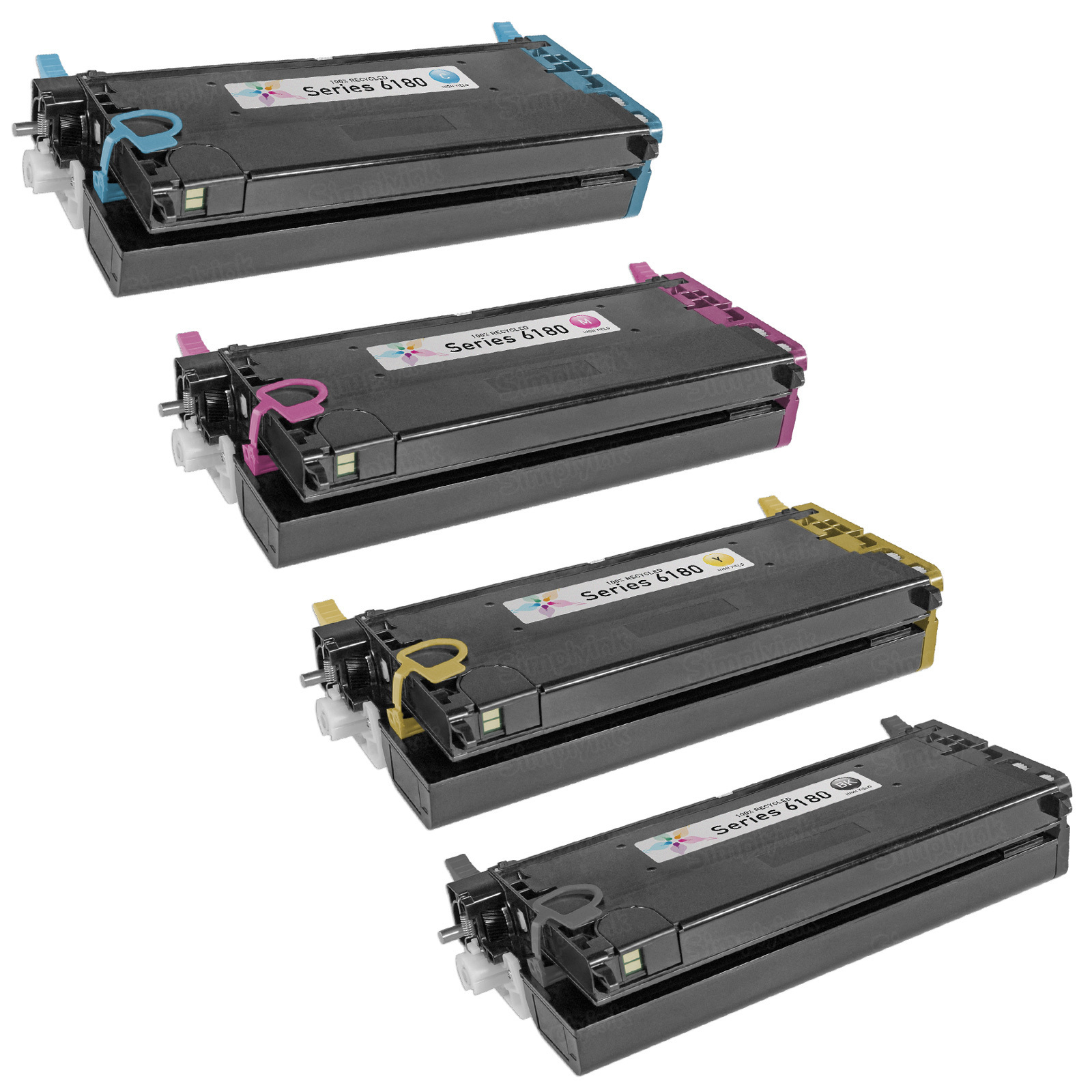 Remanufactured Phaser 6180 Xerox HC Set of 4 Toners: Bk, C, M, Y