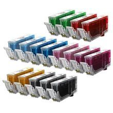 Compatible Canon Bulk Set of 17 Ink Cartridges - 3 Black and 2 each of: Cyan, Magenta, Photo Cyan, Photo Magenta, Red, Green and Yellow